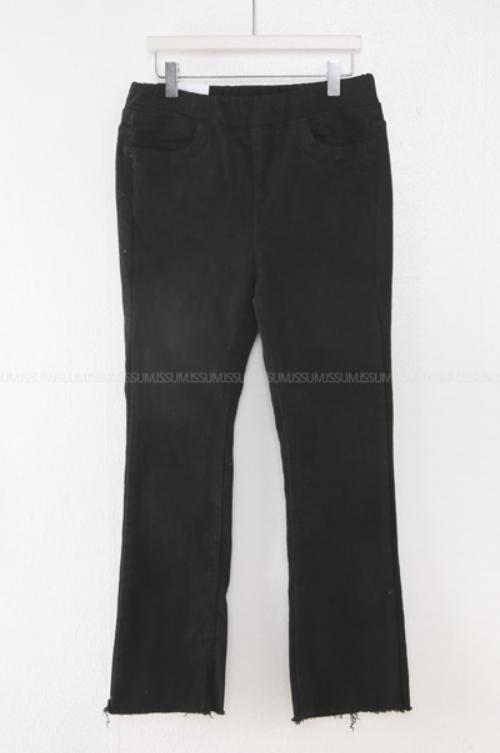 Garterized Waist Raw Hem Jeans