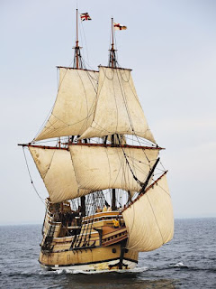 A modern-day recreation of the colonial ship The Mayflower
