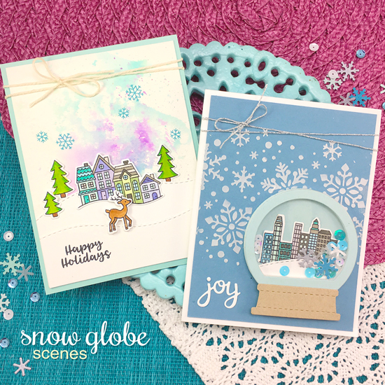 Snow Scene Christmas Cards by Jennifer Jackson | Snow Globe Scenes Stamp Set  and Snow Globe Shaker Die Set by Newton's Nook Designs #newtonsnook