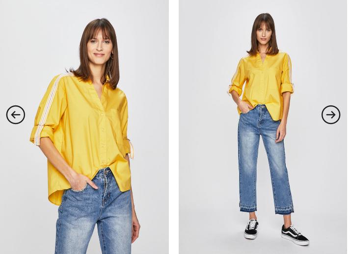 Answear - Camasa moderna de femei la moda galbena cu dunga