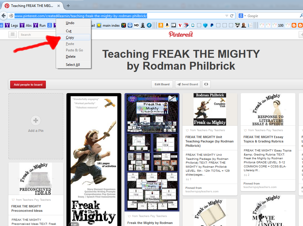 http://www.pinterest.com/created4learnin/teaching-freak-the-mighty-by-rodman-philbrick/