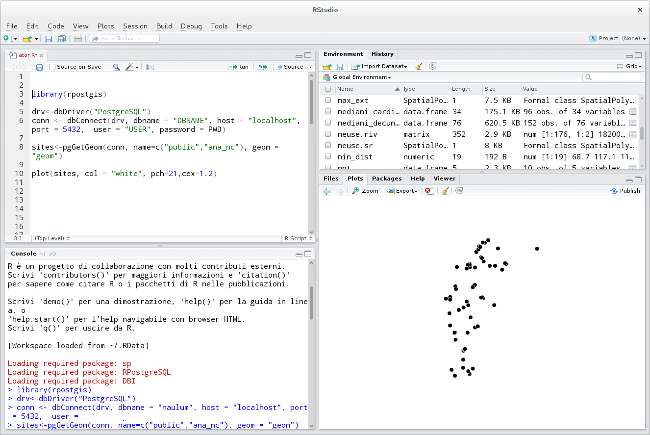 ATOR: rpostgis and RQGIS: two useful statistical tools for