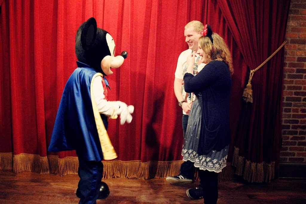 Couple Meeting Mickey Mouse at his Theater