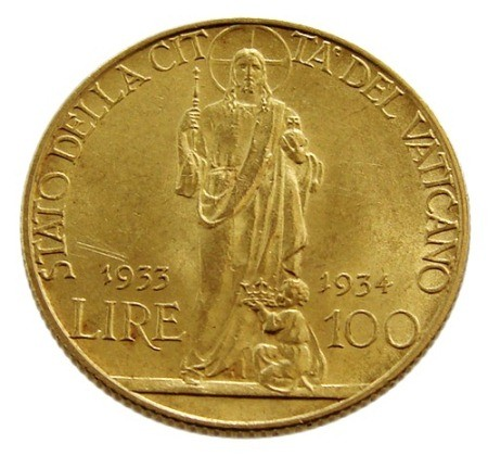 Vatican 100 Lire Gold Coin Of 1934 Pope Pius Xi World
