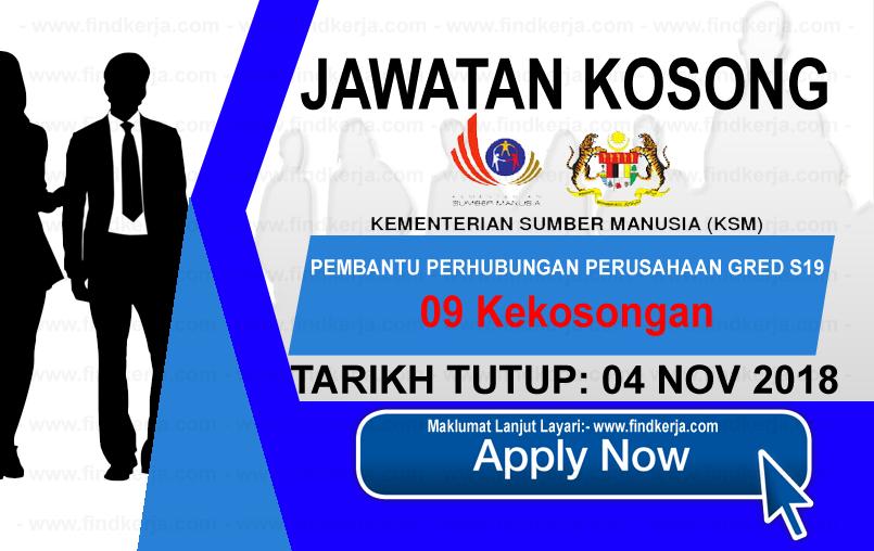 Jawatan Kerja Kosong KSM - Kementerian Sumber Manusia logo www.ohjob.info www.findkerja.com november 2018