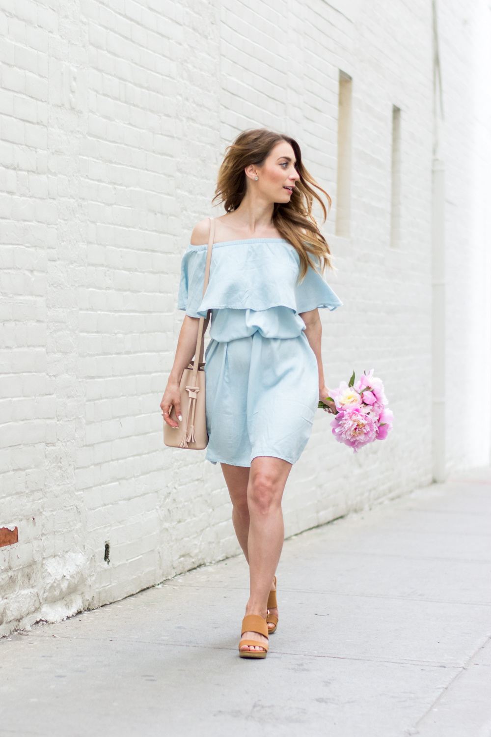 OOTD - Blue Off The Shoulder Dress | La Petite Noob | A Toronto-Based Fashion And Lifestyle Blog.