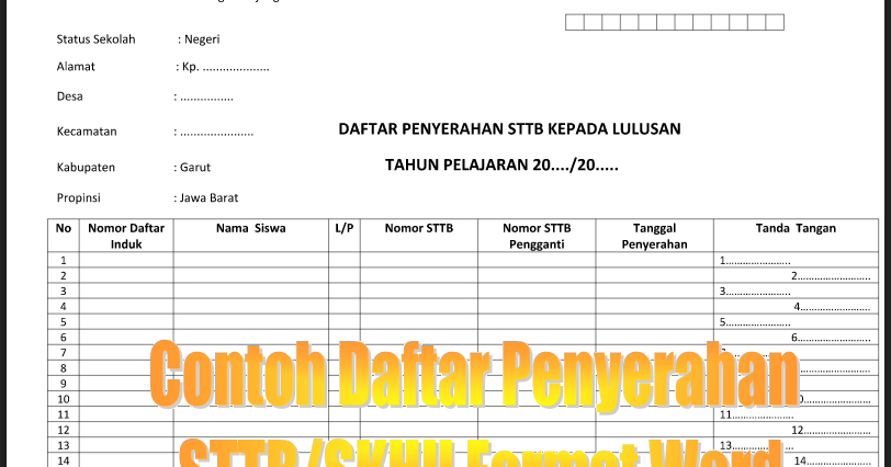 Download Contoh Daftar Penyerahan Sttp Skhun Jenjang Sd Ops Sekolah Dasar