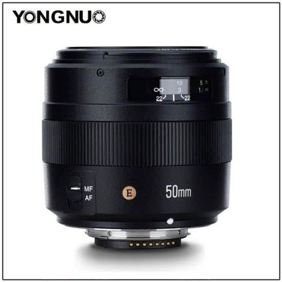 Объектив Yongnuo YN 50mm f/1.4N E, вид сбоку