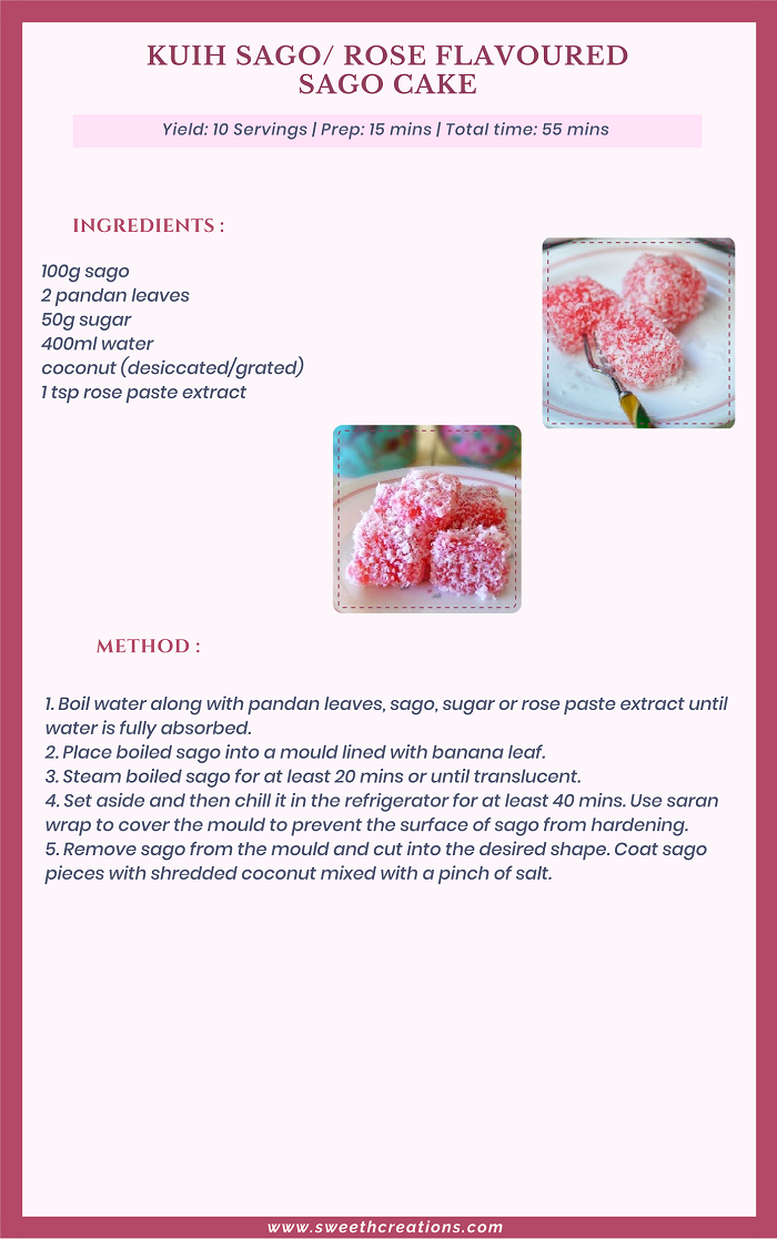 KUIH SAGO (ROSE FLAVOURED SAGO CAKE) RECIPE