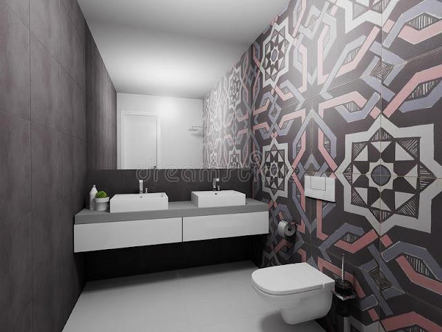 Modern 3d Wallpaper Modern 3d Wallpaper d render modern bathroom design interior blue top view 53372978