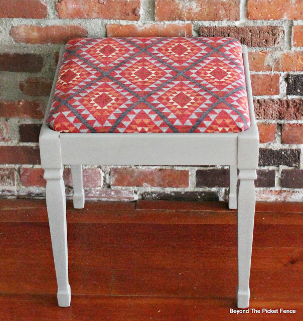 fusion mineral paint, piano stool, makeover, Waverly fabric, reupholstered, http://bec4-beyondthepicketfence.blogspot.com/2016/03/paint-makeover.html