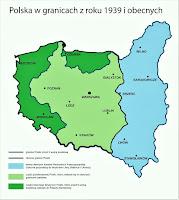 Polska w granicach z roku 1939 i obecnych Fot. propertyrestitution.pl