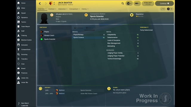 Sport Scientist Attributes Screen in FM18