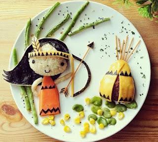 Kreasi makanan lucu untuk anak berbentuk gadis indian