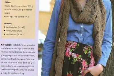 Bufanda Crochet Medios Abanicos. Patron