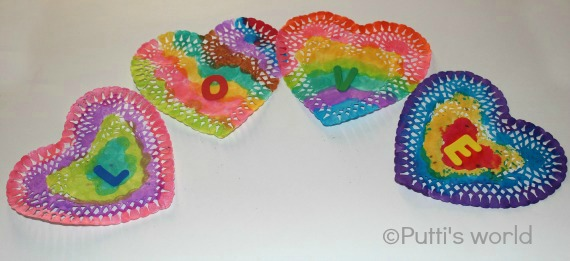 Valentine Kids Craft Painted Doily Hearts Bunting Garland Banner