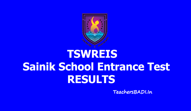 TSWREIS Sainik School Entrance Test Results 2019
