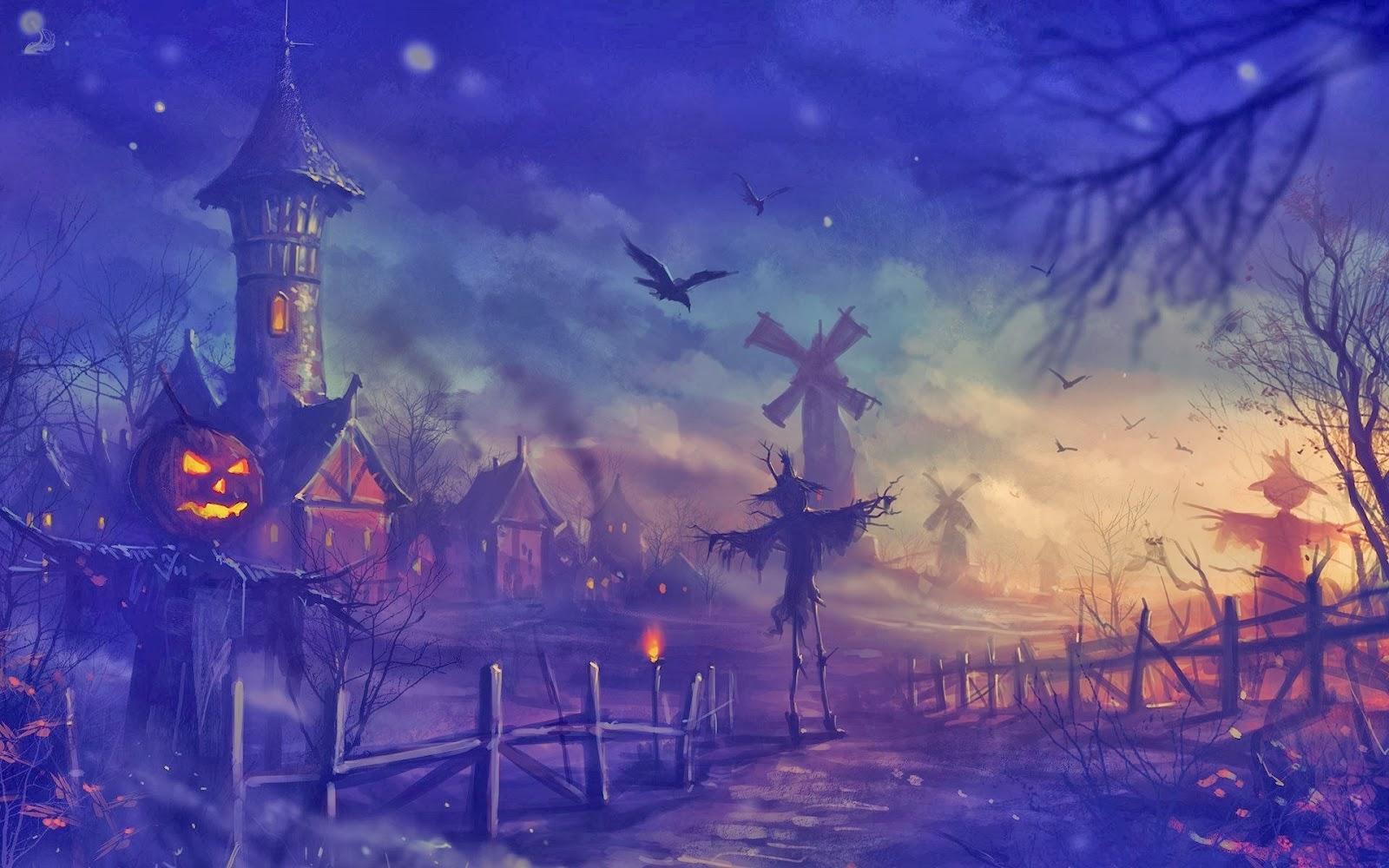 halloween-kastil-labu-gagak-orang-orangan sawah-rumah-kincir angin-wallpaper-1920x1200