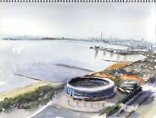 水彩スケッチ 東京湾とマリンスタジアム Watercolor Sketch Tokyo bay & Marin stadium
