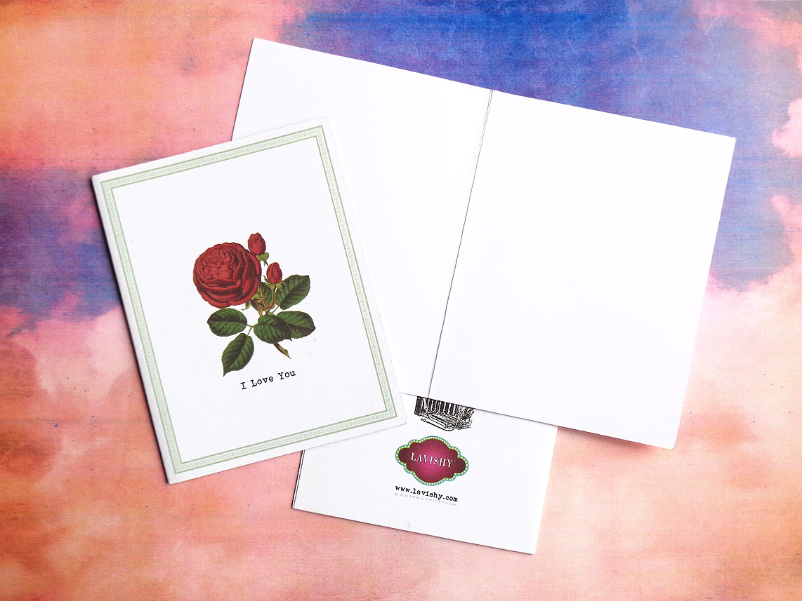 LAVISHY I Love You greeting card features vintage style rose flower print from Sarah collection
