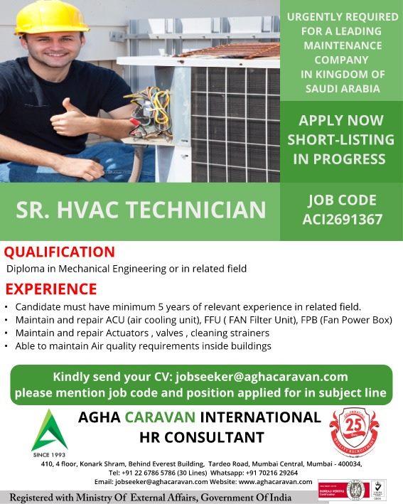 SR HVAC Technician for Maintenance company in Saudi Arabia