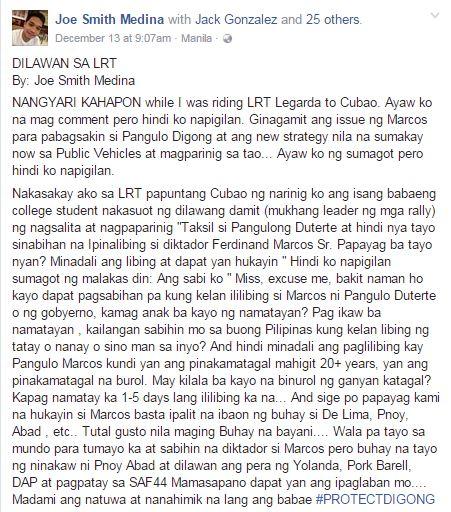 'Dilawan' Girl On Train Who Discredited Pres. Duterte Slammed By A Netizen!