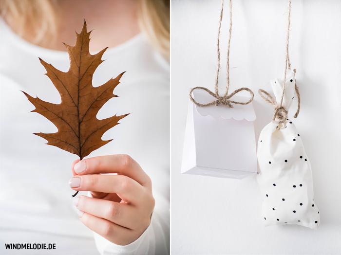 Herbst Blatt Adventskalender Tüten selber nähen