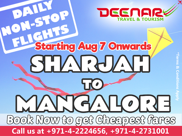 Sharjah to Mangalore Daily Non-Stop Flights