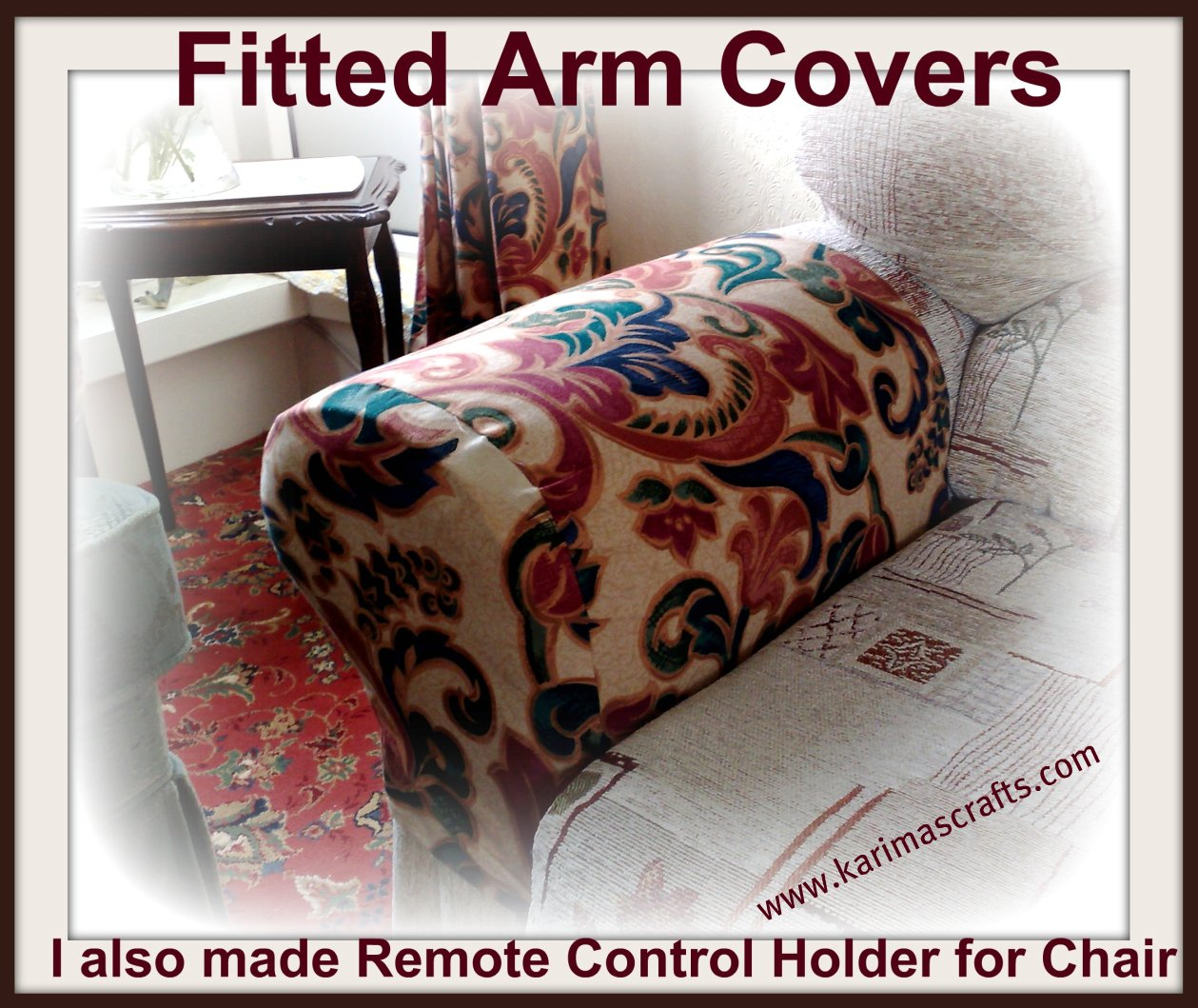 Arm Chair Cap Covers For Weddings Rentals Karima 39s Crafts And Remote Control Holder