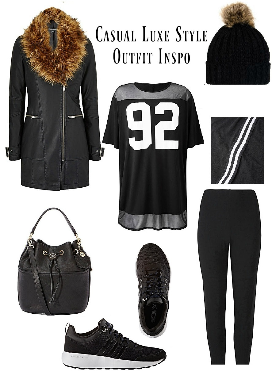 Casual Luxe Outfit Inspo, Simply Be, The Style Guide Blog, Adidas, pom pom beanie, style guide