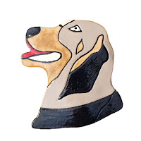 Ceramic dog wall art
