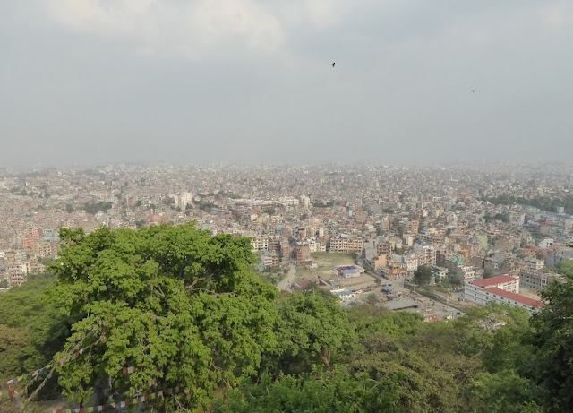 panorama di Kathmandu dal tempio delle scimmie