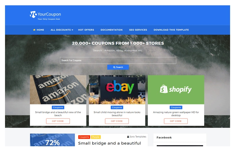 Your Coupon Site Template for Blogger - Full Width Blogger Template Free Download