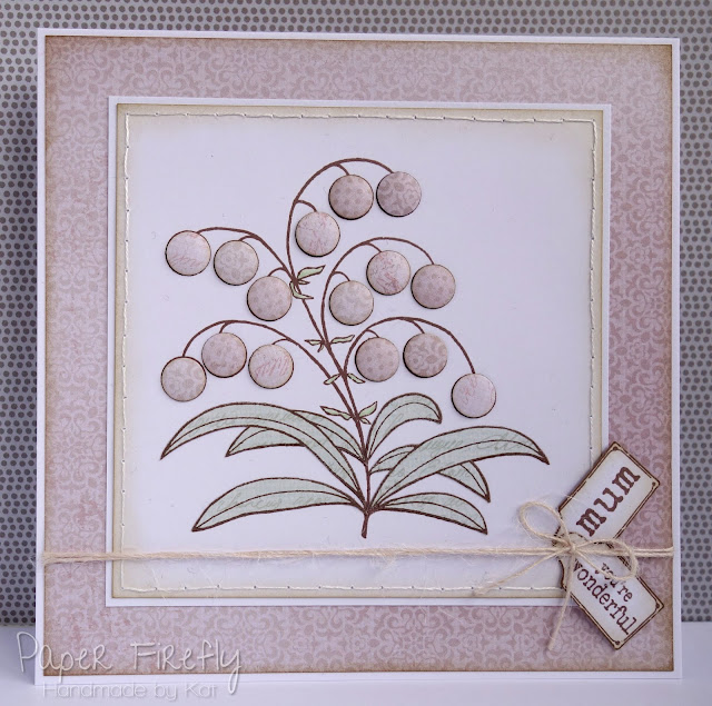 Handmade Mothers Day card with Woodware bubble bloom Melanie stamp