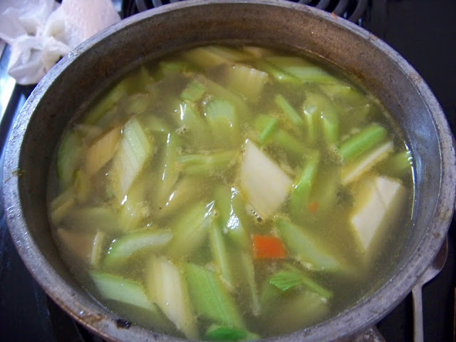 Celery simmering in Turkey Stock for Pot Pie