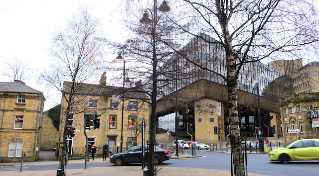 Alder tree flanked by silver birches in Halifax town centre, West Yorkshire, with Lloyd /Halifax Bank building in background
