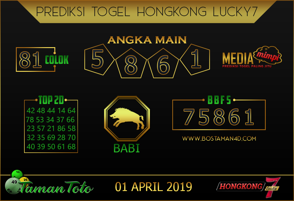 Prediksi Togel HONGKONG LUCKY 7 TAMAN TOTO 01 APRIL 2019