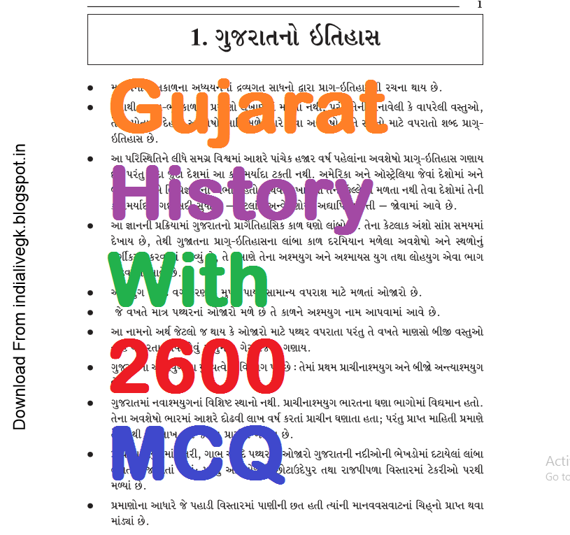 Most IMP Gujarat no Itihas GK PDF With 2600 MCQ Question