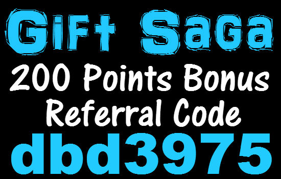 Gift Saga Referral Code 2020, GiftSaga Promo Code 200 Points Bonus Code March, April, May, June, July, August, September