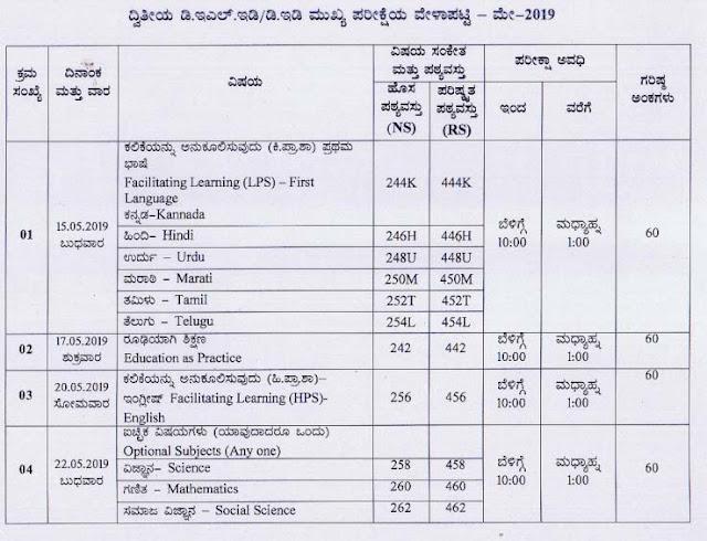 Karnataka D.El.Ed/ D.Ed 2nd year Exam Time Table May 2019