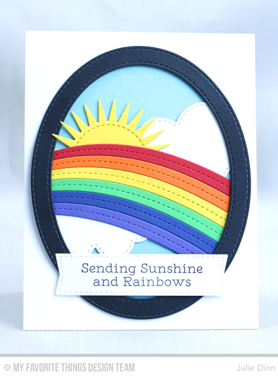 Handmade card from Julie Dinn featuring Rainbow Greetings stamp set, End of The Rainbow, Radiant Sun, Stitched Oval Frames, Blueprints 20, and Oval STAX Set 1 Die-namics #mftstamps