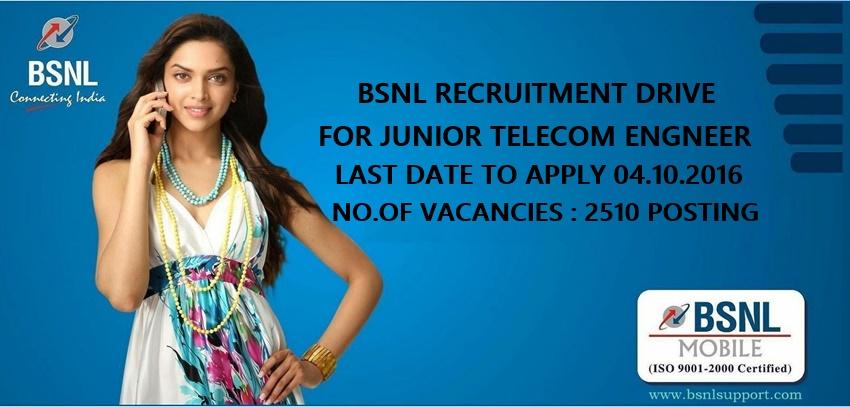 BSNL RECRUITMENT DRIVE FOR JUNIOR TELECOM ENGINEER ACROSS INDIA ...