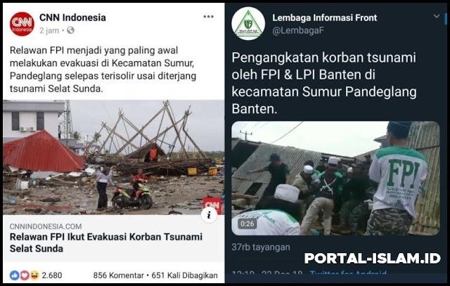 CNN Indonesia: Relawan FPI menjadi yang paling awal melakukan evakuasi korban Tsunami
