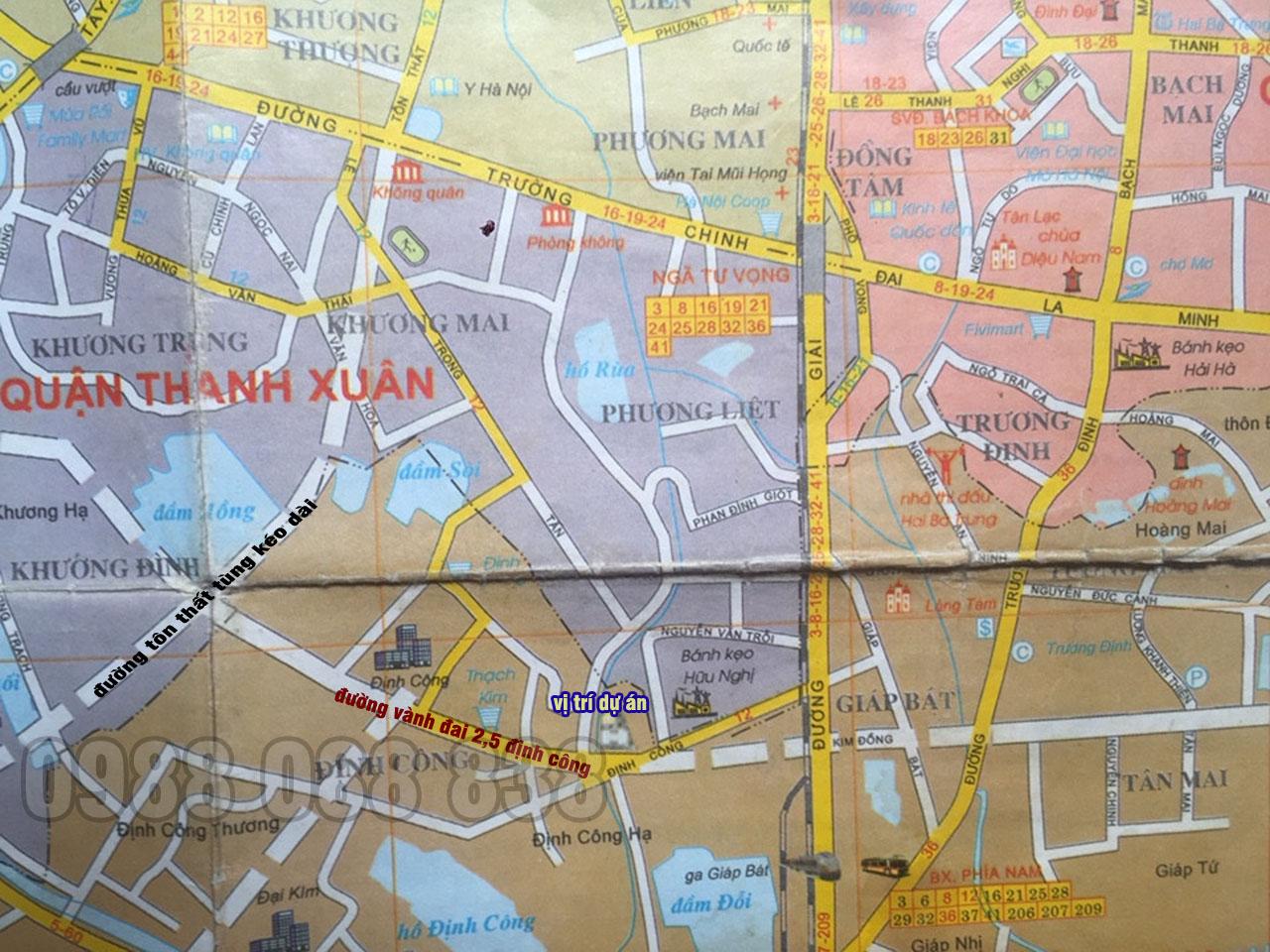 Đường vành đai 2,5 đoạn cắt qua dự án (ảnh trích ra từ bản đồ xe buýt)