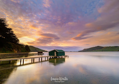 Boathouse, Dunedin, Hoopers Inlet, New Zealand, NZ, Otago, Sunrise