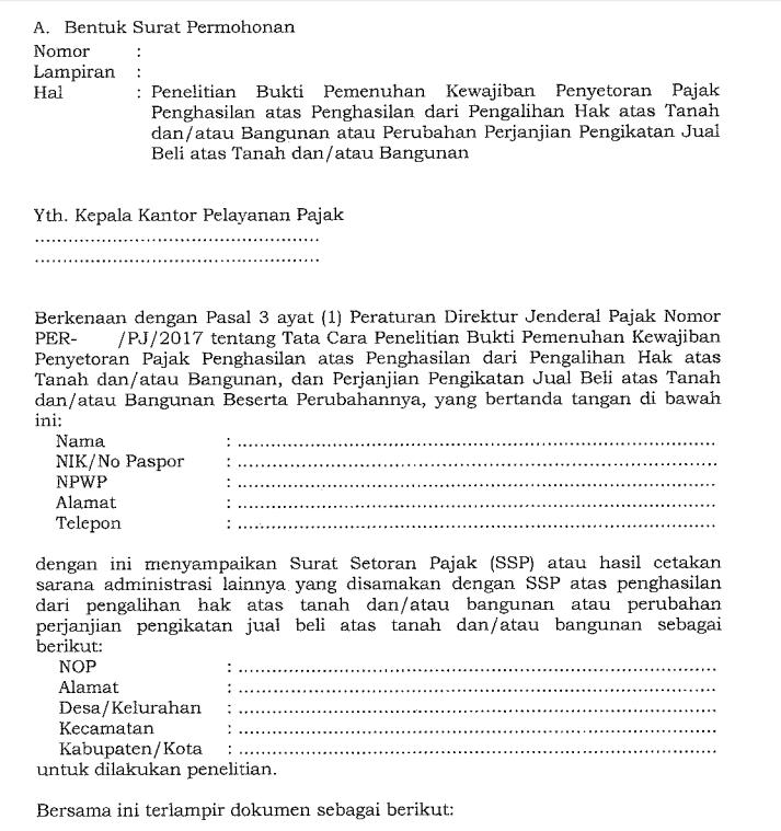 Surat Permohonan penelitian bukti pemenuhan kewajiban penyetoran Pajak Penghasilan atau validasi SSP