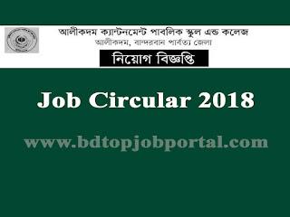 Alikadam Cantonment Public School and College Job Circular 2018