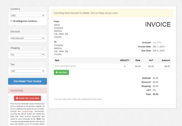 موقع invoice-generator يتيح لك عمل فواتير احترافية بنقرة واحدة