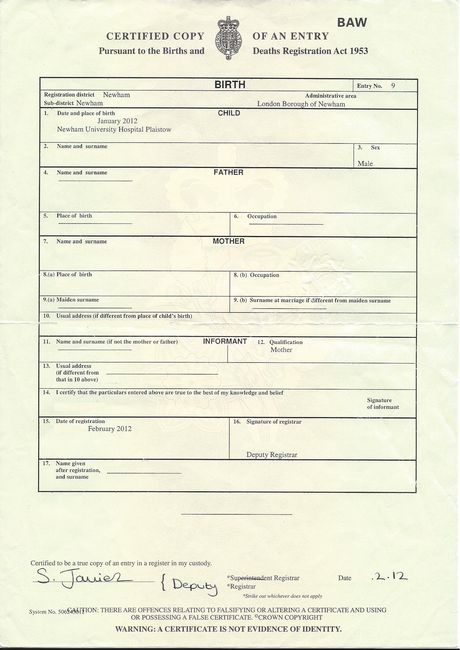 Passport fun Thoughts on Fostering - sample birth certificate template
