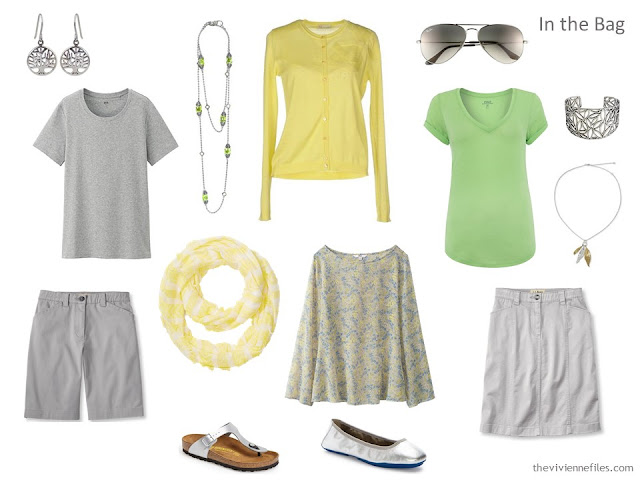 A travel capsule wardrobe with a color palette based on Avenue in the Park by Gustav Klimt